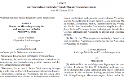 """""""Mietendeckel"""" veröffentlicht – Zweistufiges Inkrafttreten ab 23.02.2020 (Schnellinfo)"""
